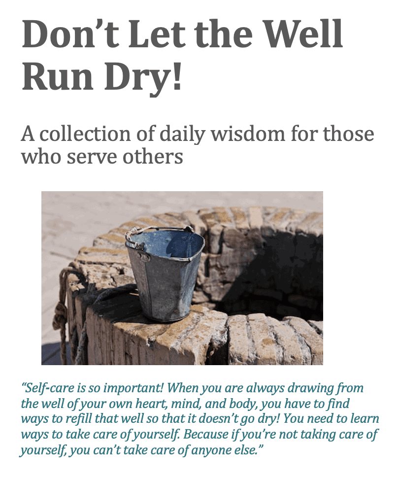 Don't Let the Well Run Dry free ebook